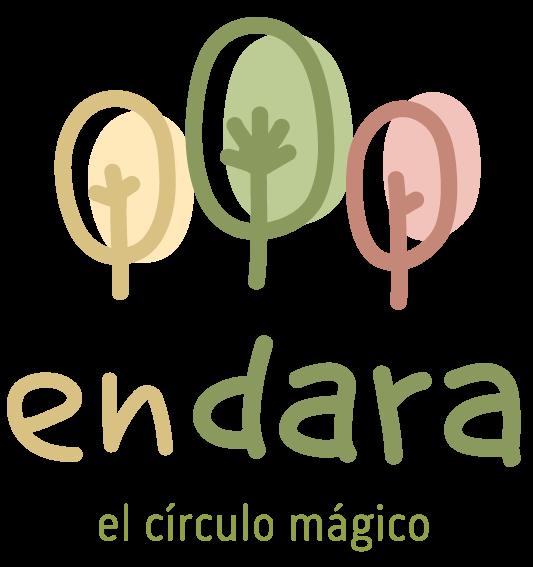 Logotipo de la escuela infantil enDARA: En tonalidades verdes, tres árboles de distiinto tamaño con el nombre enDARA debajo