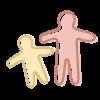 Icono con las siluetas de un niño y de un adulto que simboliza el periodo de adaptación en la escuela.