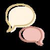 Icono con dos bocadillos de texto que simboliza el servicio de talleres para padres en enDARA.
